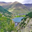 Reservoir, sancuary, and dam of Vall de Nuria — Stock Photo #56733295