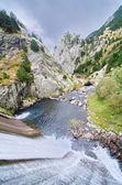 Dam and stream of Vall de Nuria — Stock Photo