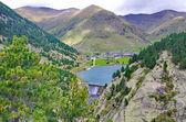 Reservoir, sancuary, and dam of Vall de Nuria — Stock Photo
