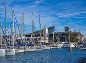 Sail boats in Baecelona Port Harbor — Stock Photo