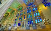 Sained glass windows in the Basilica de la Sagrada Familia, Barc — Stock Photo