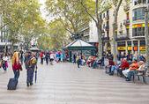 People in La Rambla (the Boulevard), Barcelona — Stock Photo