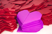 Lots of pink and red paper hearts for Valentine's Day — Stock Photo