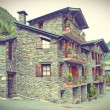 Typical traditional dark brick Andorra rural houses postcard look — Stock Photo #65322427