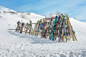 Rack of ski equipment — Stock Photo