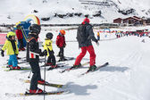 Kids skiing in an Austria ski school — Stock Photo
