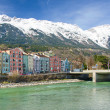 Historic architecture and snow capped mountains in Innsbruck, Au — Stock Photo #72442885