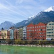 Historic architecture and snow capped mountains in Innsbruck, Au — Stock Photo #72442917