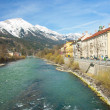 Historic architecture and snow capped mountains in Innsbruck, Au — Stock Photo #72443139