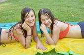 Two best friends in bathing suits — Stock Photo