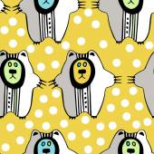 Pattern with hand drawn bears — Vector de stock