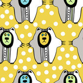 Pattern with hand drawn bears — Stockvector