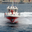 Motor boat of firefighters in action in Genoa — Stock Photo #60621677