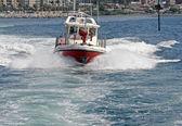 Motor boat of firefighters in action in Genoa — Stockfoto