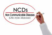 NCDs,Doctor hand writing Non Communicable Disease message. — Stock Photo