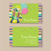 Business or visiting card with birthday cake. — Stock Vector