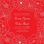 Red floral wedding invitation card. — Stock Vector