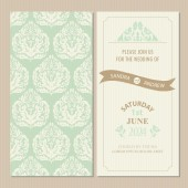 Wedding vintage invitation card or announcement — Stock Vector