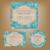 Set of wedding invitation, thank you, RSVP card, save the date — Stock Vector