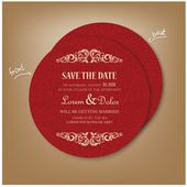 Red Vintage Round Save the Date Card — Vector de stock