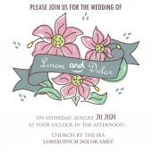 Wedding invitation card or announcement with ribbon and hand drawn flowers. — Stock Vector