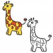 Cartoon giraffe. Coloring book. Vector illustration — Stockvector