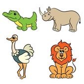 Cute outlined zoo animals collection. Vector illustration. — Stockvector