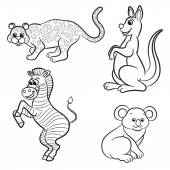 Cute outlined zoo animals collection. Vector illustration. — Stockvektor