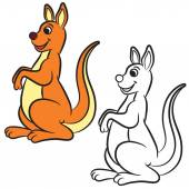 Illustrazione di vettore del canguro. Libro da colorare. Illustrazione di vettore. — Vettoriale Stock