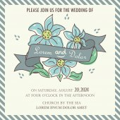Floral Wedding Invitation With Ribbon and Hand Drawn Flowers. — ストックベクタ