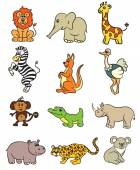 Cute zoo animals collection. Vector illustration. — Stock Vector