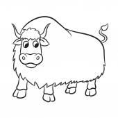 Ilustracja z konspektem yak na białym tle — Wektor stockowy