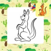 Kangaroo vector illustration. Coloring book. Vector illustration. — Stock Vector