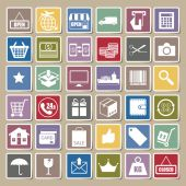 Shopping and logistic icons Sticker set, vector — Stock Vector