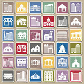 Building icons set Sticker — Stock Vector