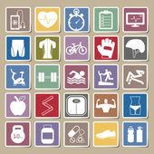 Fitness Icons Sticker set — Stock Vector