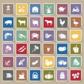 Farm icons Sticker Set — Stock Vector
