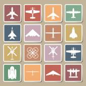 Airplane icons set — Stock Vector