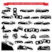 Car crash and accidents icons — Stock Vector