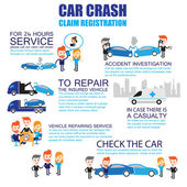 Insurance car crash ,Cartoon Characters infographic — Stock Vector