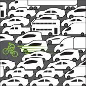 Bike at rush hour — Stock Vector