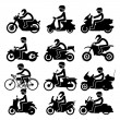 Motorcycle rider Icons set. Vector Illustration — Stock Vector #58322539