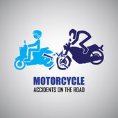 Motorcycle crash and accidents icons — Vector de stock