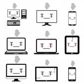 Sick desktop, notebook, Smart phones, computer icon set — Vecteur
