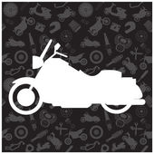 Motorcycle, background pattern and icon — Stock Vector