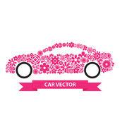 Flower Car vector — Stock vektor