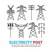 Electric post,high voltage set — Stockvector