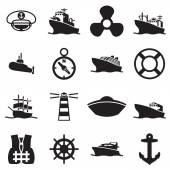 Boat and ship symbols and icon — Stock Vector