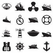 Boat and ship symbols and icon — Vetor de Stock
