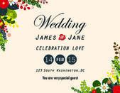 Wedding invitation card,flower arrangements background — Stock Vector